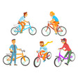 cyclists riding bike set for label design vector image