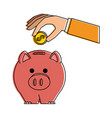hand with piggy savings vector image