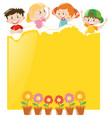paper design with children and yellow paper vector image
