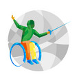 physically disabled fencer with abstract patterns vector image