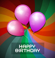 Pink and Purple Balloons on Colorful Retr vector image