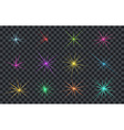 Set of Abstract Lighting Shining Flares or Stars vector image