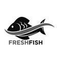 Fresh fish market promotional black and white logo vector image