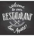 Welcome to our restaurant chalkboard printable vector image