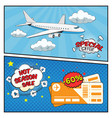 air tickets sale comic style banners vector image