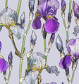 Seamless Purple Floral Background with Iris vector image