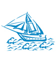 Silhouette of a sailboat on the waves vector image