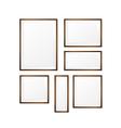 Set of Blank wood photo frame on white background vector image