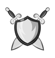 Battle shield with swords icon vector image