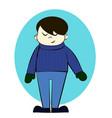 boy in winter clothes cartoon vector image