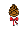 Christmas pinecone vector image