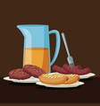 color brown scene with glass jar with orange juice vector image
