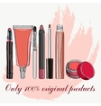 cosmetics for lips - some lip gloss and lipstick vector image