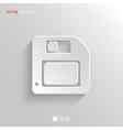 Floppy diskette icon - white app button vector image