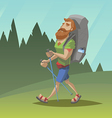 Man with red beard walk through the field vector image