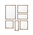 Set of Blank wood photo frame on white background vector image