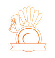 thanksgiving turkey with dish character icon vector image