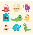Set of nine stickers with cartoon cute monsters vector image