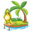 An island with a turtle standing above the wooden vector image vector image