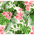Seamless exotic pattern with tropical leaves and f vector image