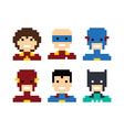 pixel people superhero avatar set vector image