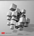 Abstract composition of white 3d cubes vector image