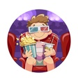 Boy with popcorn and drink in cinema vector image
