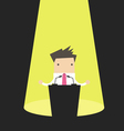 Businessman behind a podium with microphones vector image