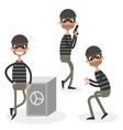 Cartoon thief character set isolated on white vector image