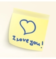 I love you paper note EPS 8 vector image