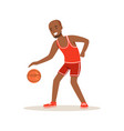 male basketball player character active sport vector image