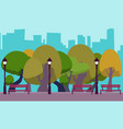 park in the background of the city vector image