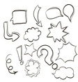 set of clouds conversations characters and various vector image