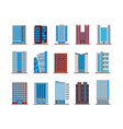 set of isolated houses or buildings skyscrapers vector image