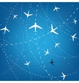 Airplane Routes And Stars vector image vector image