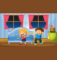 brother teasing sister in bedroom vector image vector image