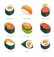 Sushi rolls icons vector image vector image