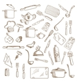 Kitchen utensil and kitchenware icons vector image