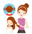 mother brushing daughter hair vector image