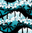 Blue tropical frangipani flowers with palm tree vector image