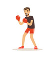 male athlete player character boxing active sport vector image