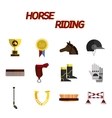 Horse riding flat icon set vector image