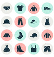 clothes icons set collection of elegance dress vector image