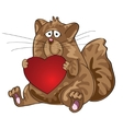 Cat sitting with heart in his paws vector image