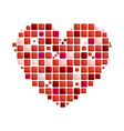 geometric red heart symbol on white background vector image