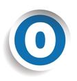 Number Zero sticker blue vector image