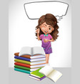 little girl and book with speech bubble template vector image vector image