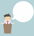 Businessman standing on podium and giving a speech vector image vector image
