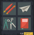 black background squares set with paper plane vector image
