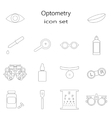 black optometry icon set in thin line style vector image